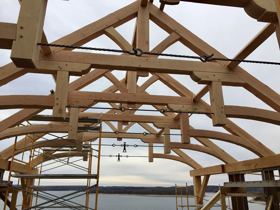 Under Construction: Great Room Timber Trusses With Custom Made Steel Hardware