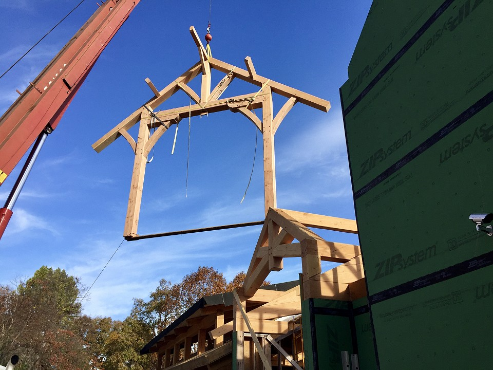 Under Construction: Entry Porch Bent Flying Into Position