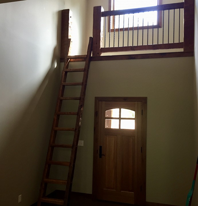 Hand Hewn Reclaimed Heart Pine Loft Ladder And Banister