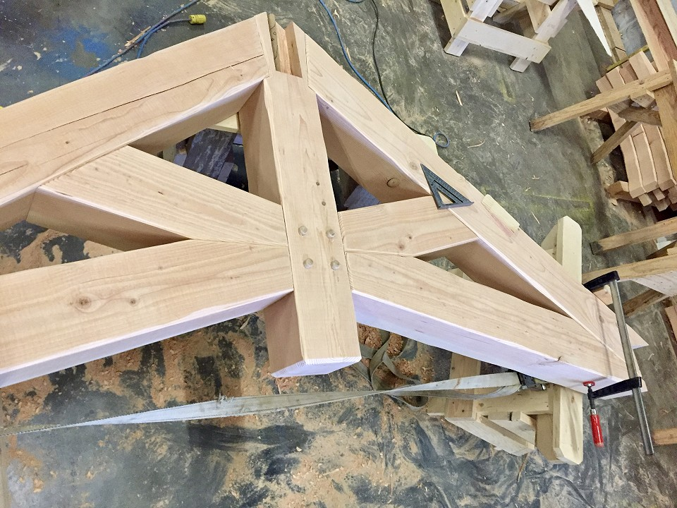 In Shop: Final Assembly For Dining Room Scissor Truss