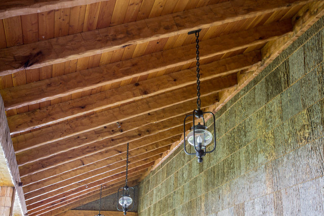 Timber Frame Shed Roof Porch Rafters With Wall Ledger Timber