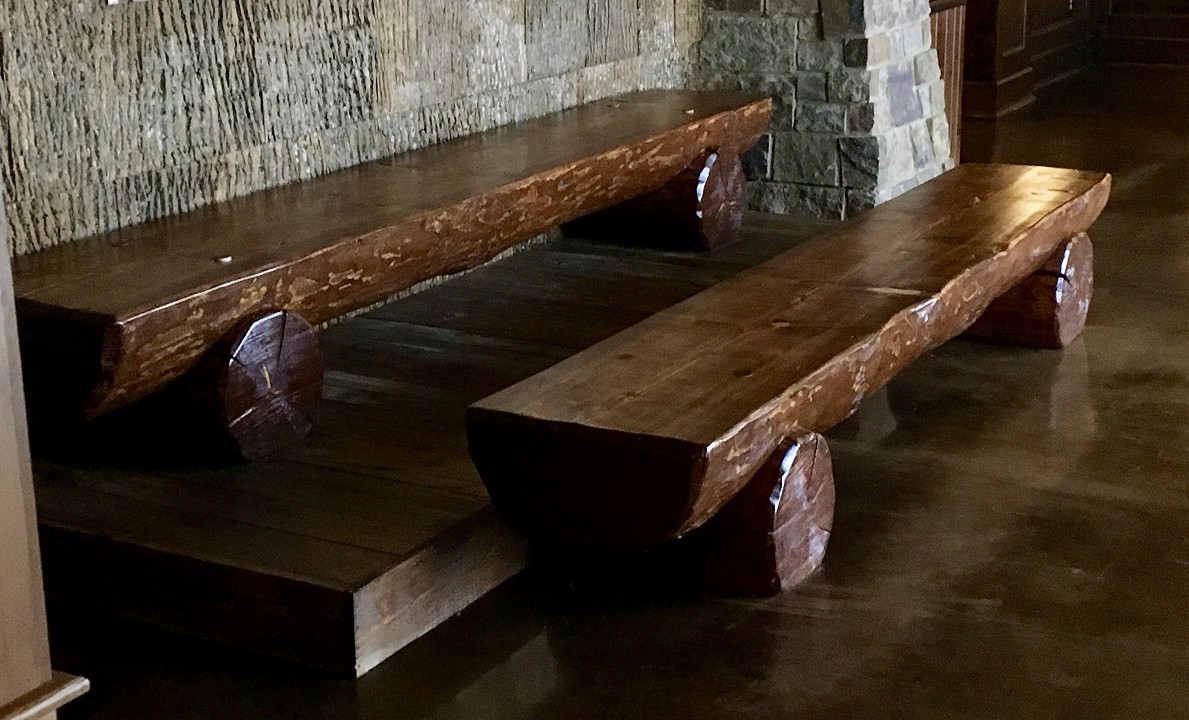 Hand Peeled, Half Log Western Pine Benches