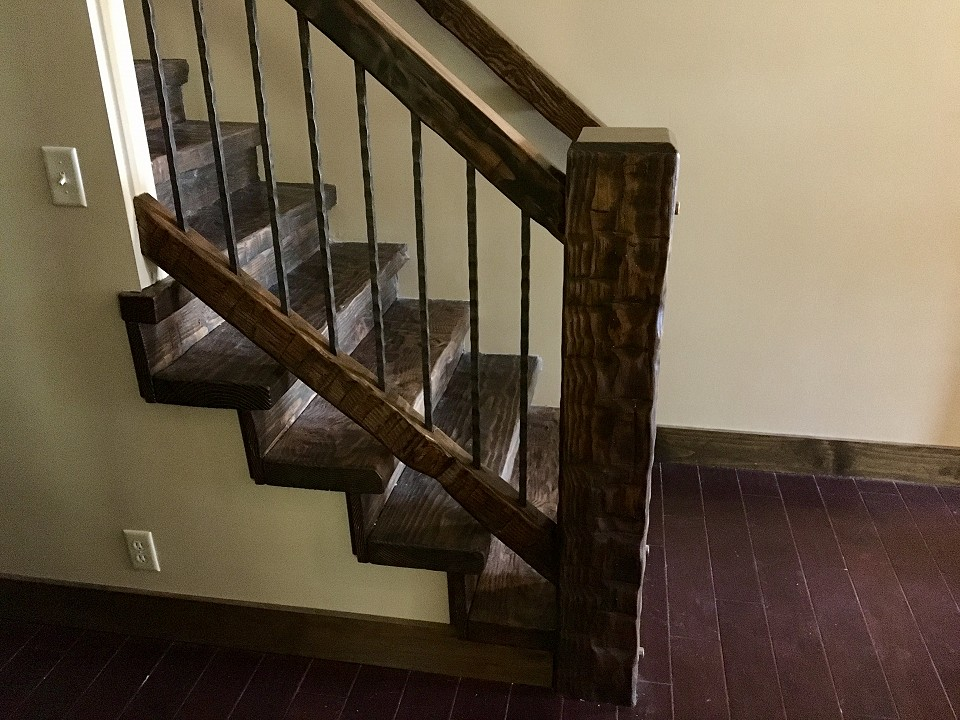 Hand Hewn Douglas Fir Banister And Stair Treads