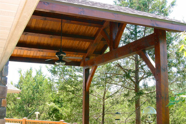 Panther creek timber frames covered timber frame porch for Timber frame porch addition