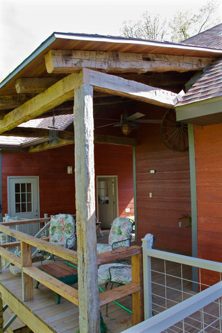 Reclaimed Barn Timber Breezeway and Shed Roof Porch